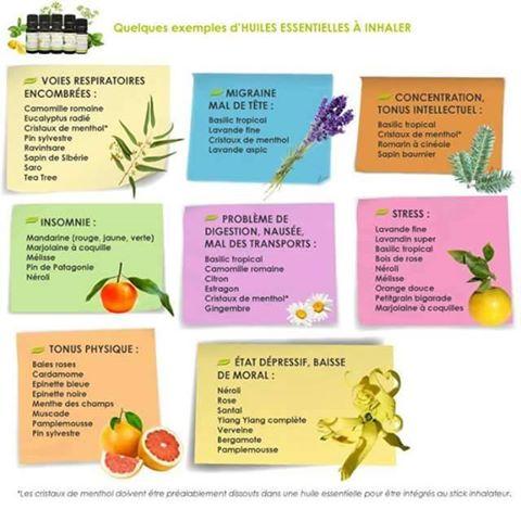 Exemples huiles essentielles a inhaler