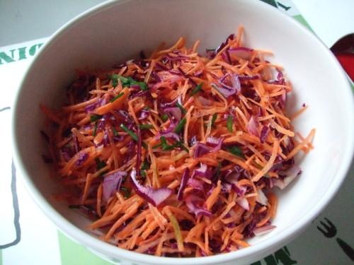 Salade carottes chou rouge